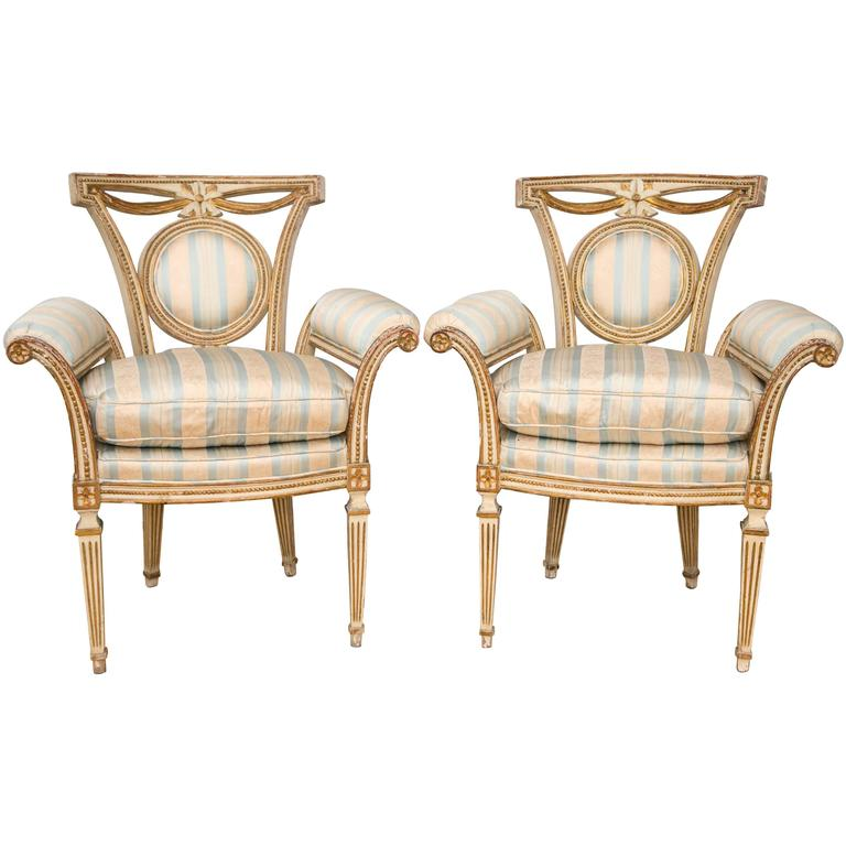 Pair of Louis XVI Style Parcel-Gilt Upholstered Fauteuils For Sale