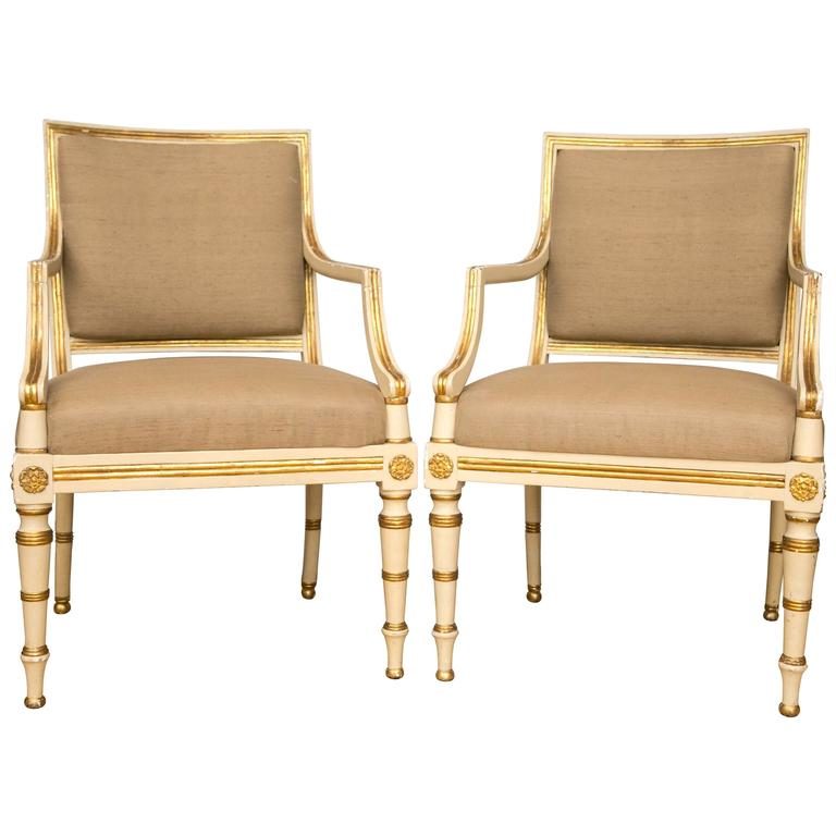 Pair of Neoclassical Parcel-Gilt Upholstered Armchairs