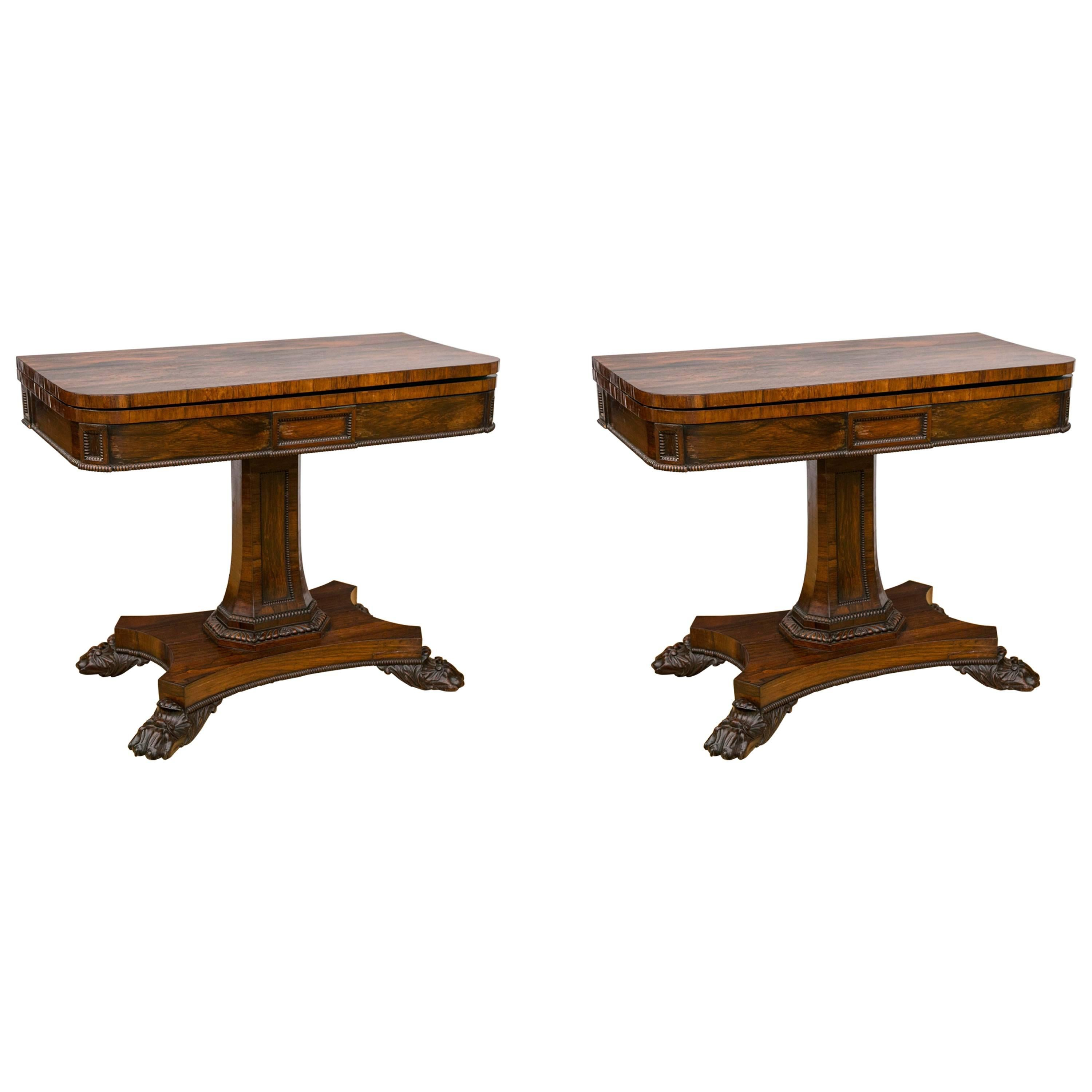 Pair of English Regency Period Rosewood Game Tables