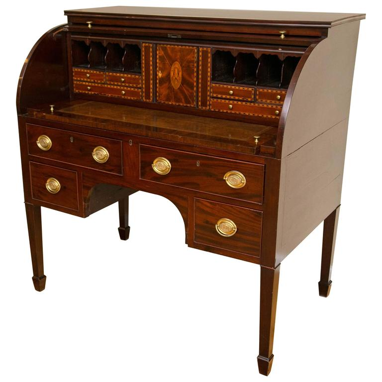 Baltimore Federal Period Eagle Inlay Mahogany Cylinder Desk For Sale