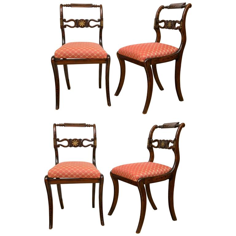 Set of Four English Regency Brass Inlay Side Chairs For Sale