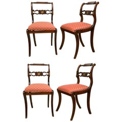 Set of Four English Regency Brass Inlay Side Chairs