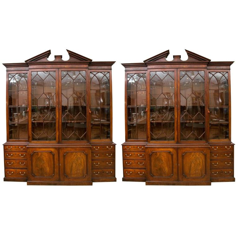 Rare Pair of a George III Mahogany Breakfront Library Bookcases