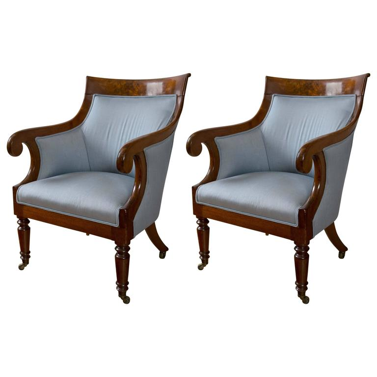 Pair of Regency Period Mahogany Library Bergères For Sale