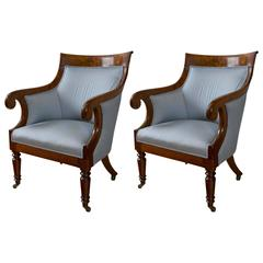 Pair of Regency Period Mahogany Library Bergères