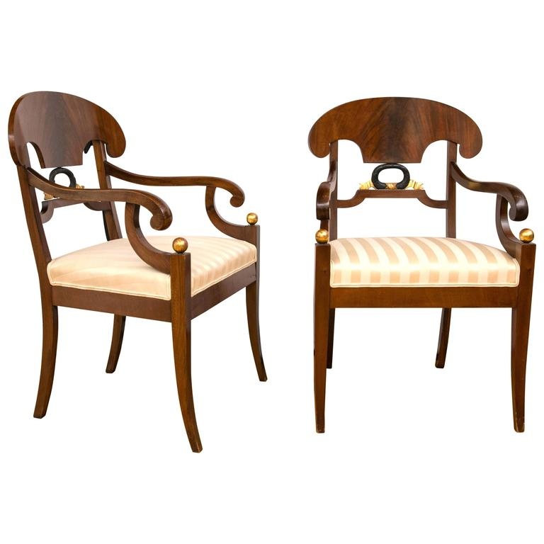 Pair of Swedish Biedermeier Armchairs For Sale