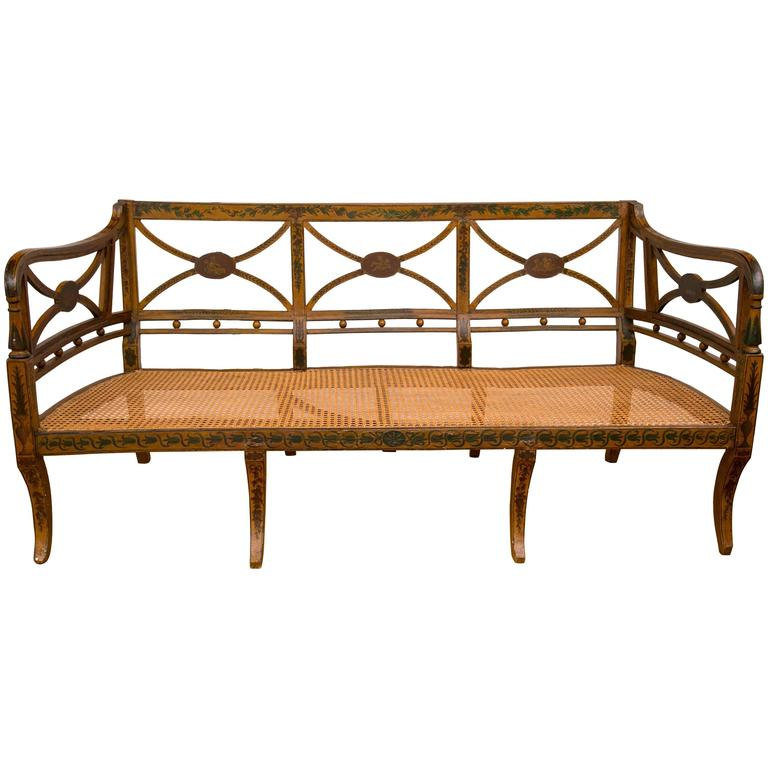 19th Century English Hand-Painted Sheraton Style Caned Seat Settee For Sale