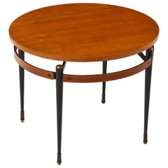 Italian Ponti Style Round Side Table with Metal Legs, Italy, 1950, Mid-Century