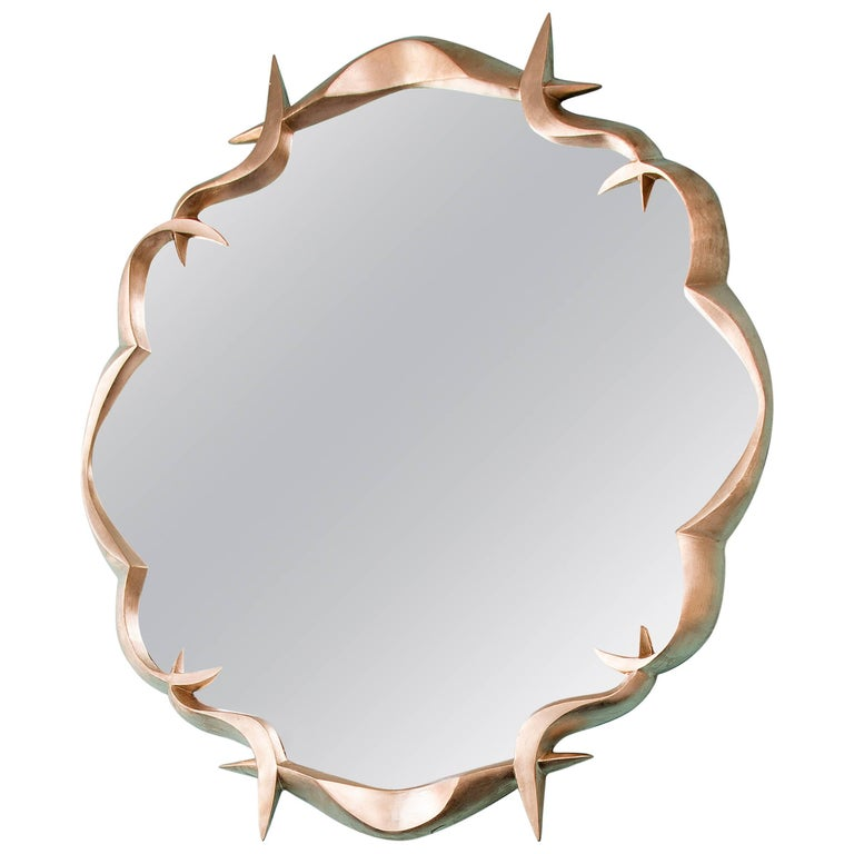 Gold Leafed Bronze Mirror by Anasthasia Millot For Sale