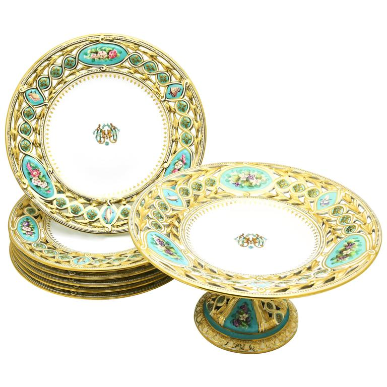 19th Century Worcester Hand-Painted Turquoise Partial Dessert Set For Sale