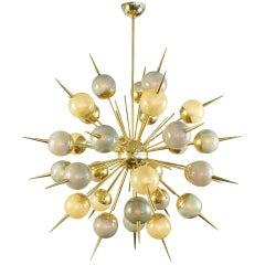 Multicolored Murano Glass and Brass Sputnik Chandelier