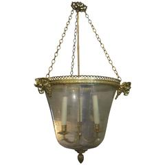 French Brass Pendant Light with Ram's Heads