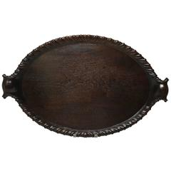 Georgian Carved Mahogany Oval Tray