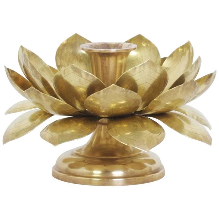 Single Brass Lotus Candleholder For Sale