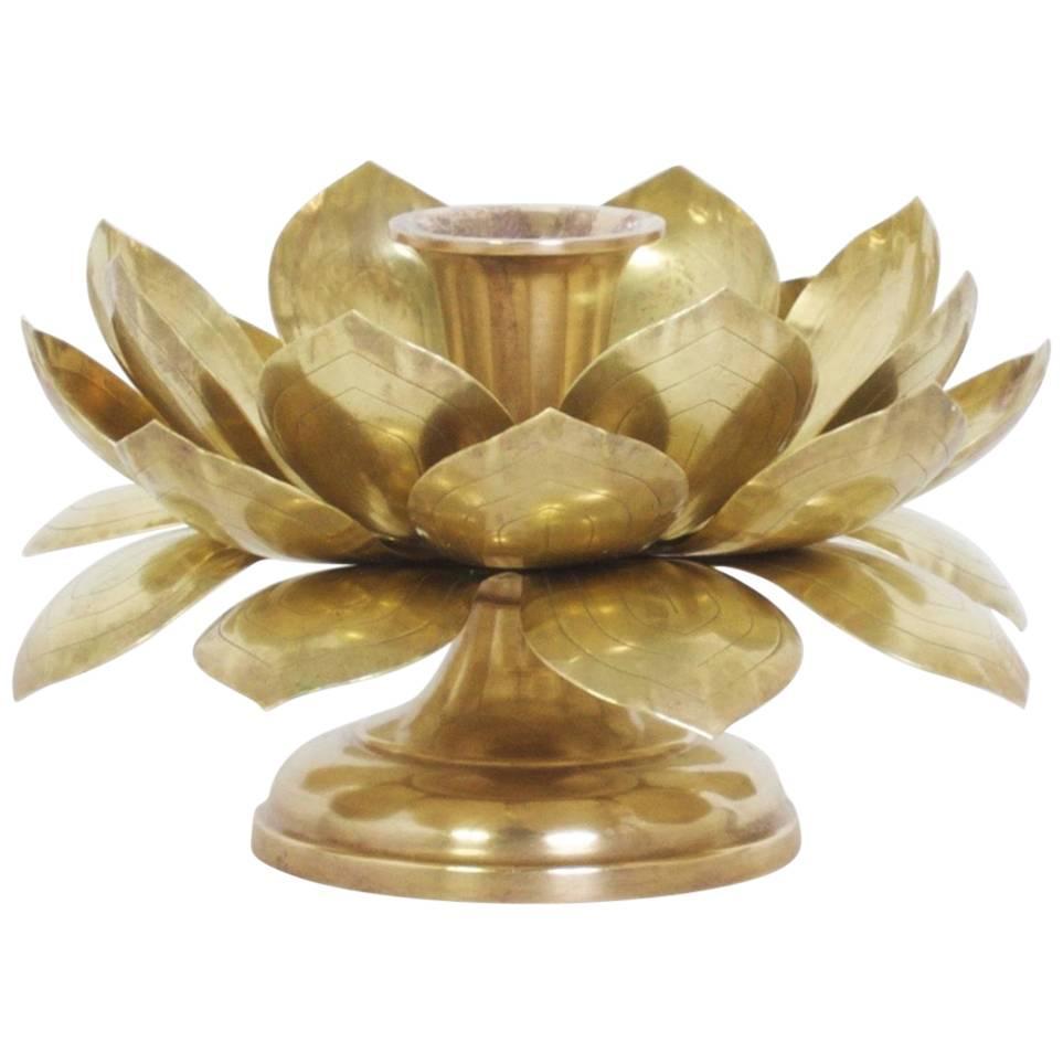 Single Brass Lotus Candleholder