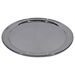 Big and Round Sterling Silver Serving Tray by Cartier