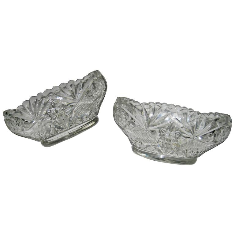 Pair of 19th Century Irish Crystal Fruit Bowls
