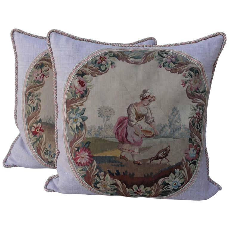 Pair of Pillows with 19th Century Aubusson Textiles For Sale