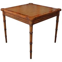 Faux Bamboo and Leather Burl Square Card Table by Drexel
