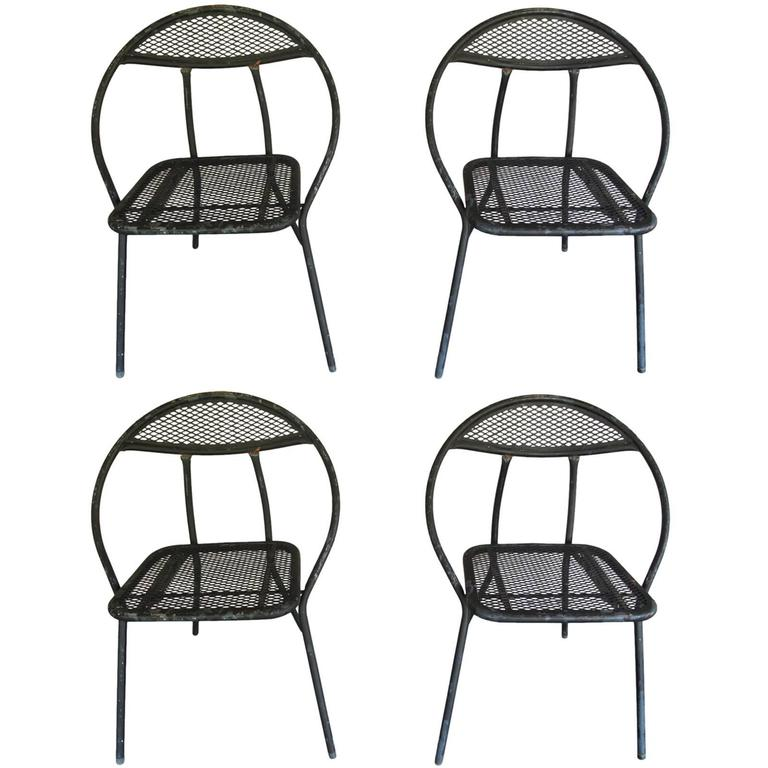 Set Of Four Salterini Folding Clamshell Garden Chairs At