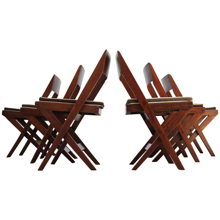 Set of Six Pierre Jeanneret Library Chairs in Teak and Cane 1