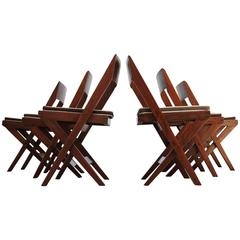 Set of Six Pierre Jeanneret Library Chairs in Teak and Cane