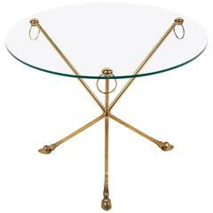 French Vintage Hoofed Tripod Side Table