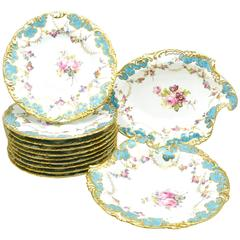 Royal Crown Derby Turquoise And Gold Hand Painted 14-Piece Dessert Service