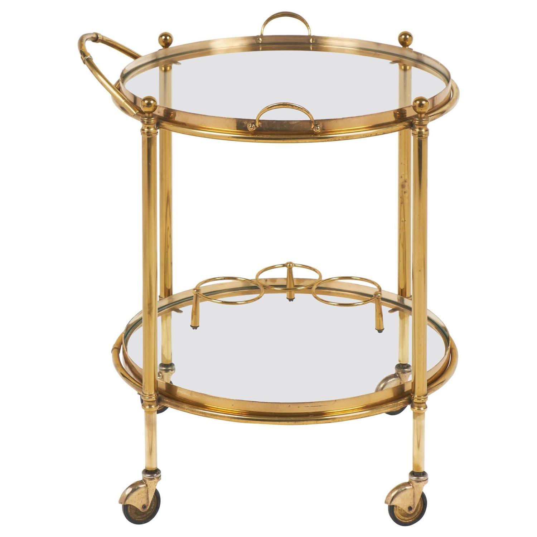 French Vintage Round Brass Bar Cart At 1stdibs