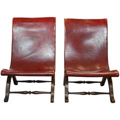 Pair of Spanish Low Sling Back Slipper Chairs in Leather