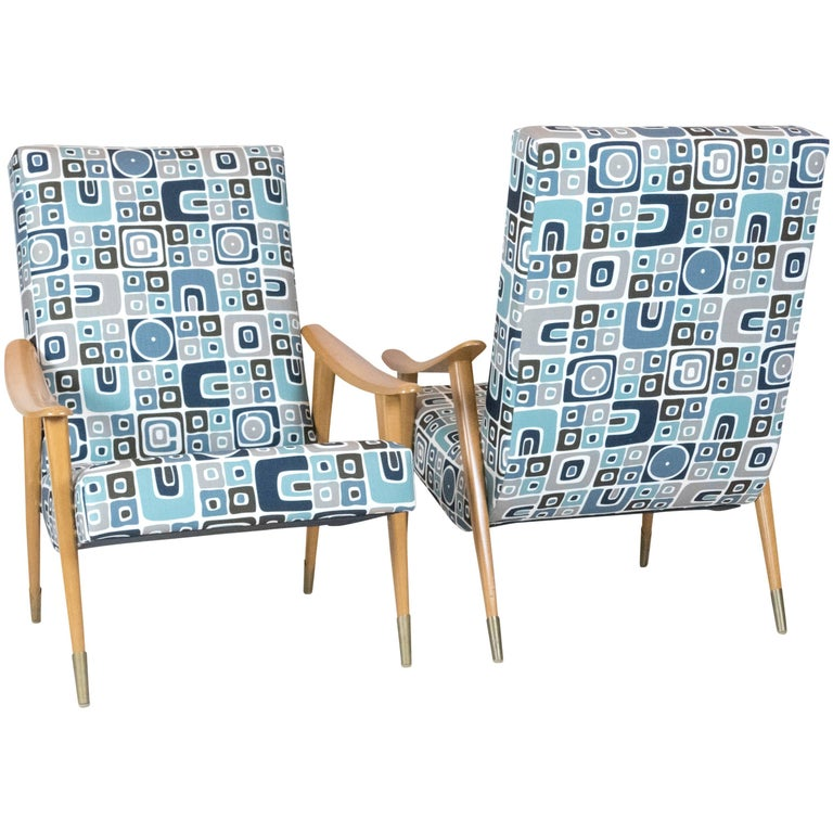 Pair of French Mid-Century Armchairs For Sale
