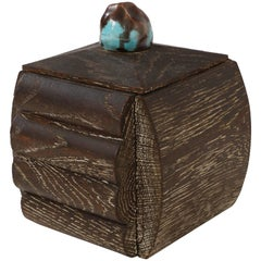 Cerused Oak Box French Deco with Ceramic Top, Mid Century, 1940