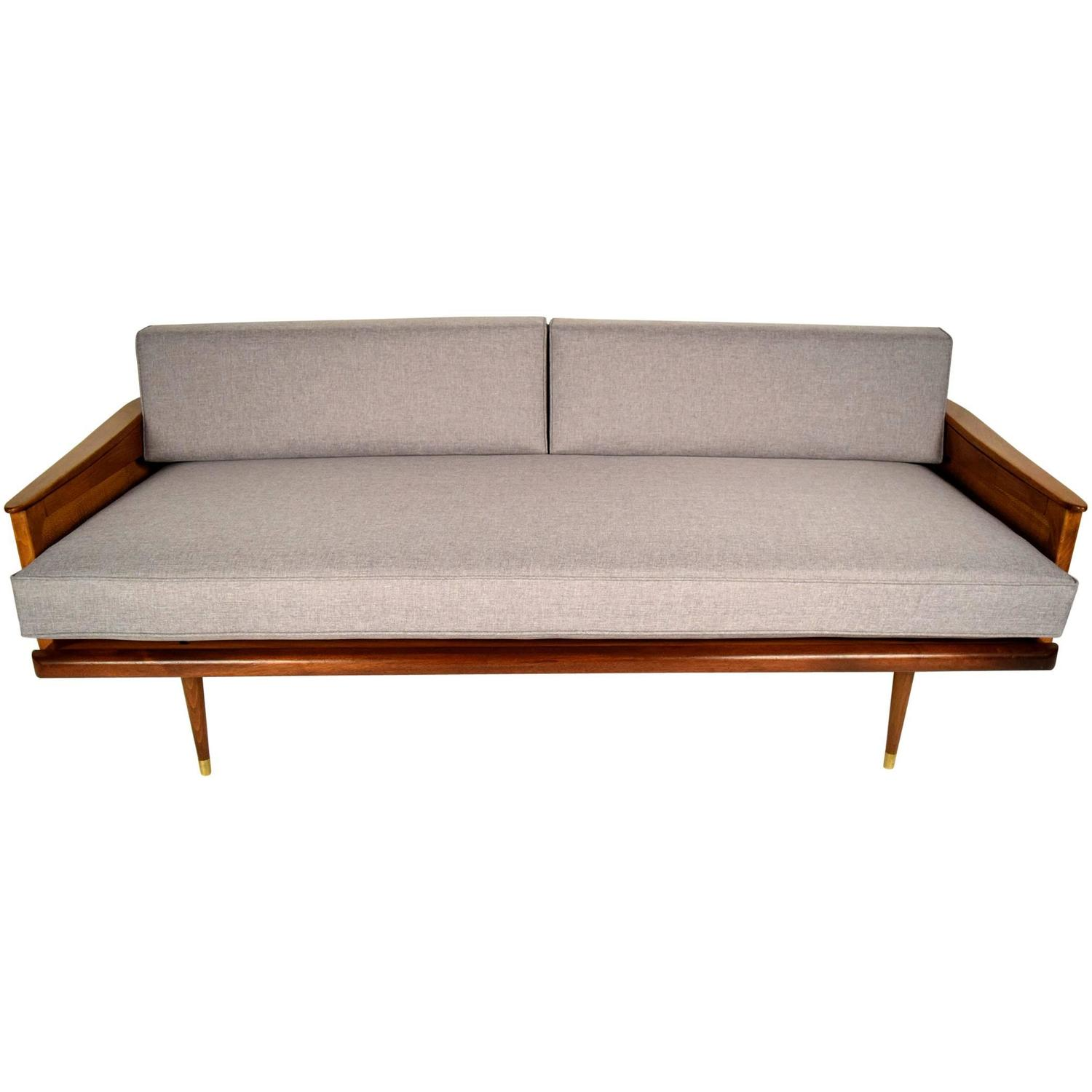 Mid century walnut modern sofa for sale at 1stdibs for Mid century sectional sofa for sale