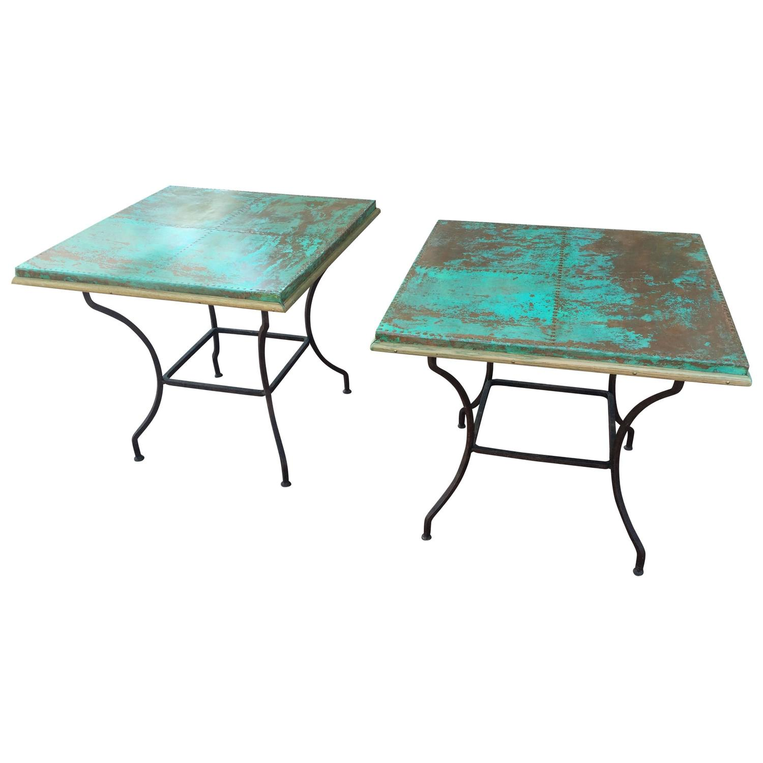 Pair of unusual occasional tables with copper tops for for Unusual table tops