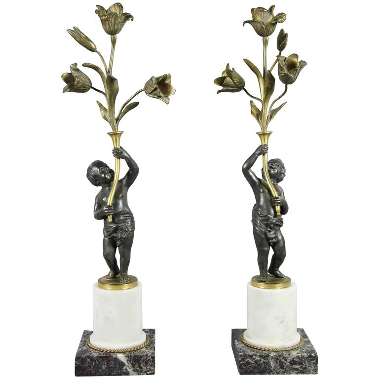 Pair of Louis Philippe Bronze and Marble Candelabra