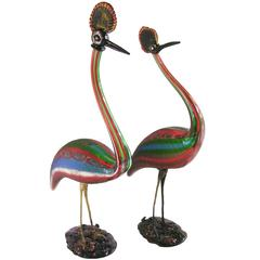 Vintage Italian Tall Pair of Jewel-Like Red Blue Green White Glass Crested Birds