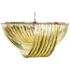 "Murano ""Curve"" Chandelier in the Style of Venini"