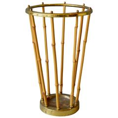 French Brass and Bamboo Umbrella Stand
