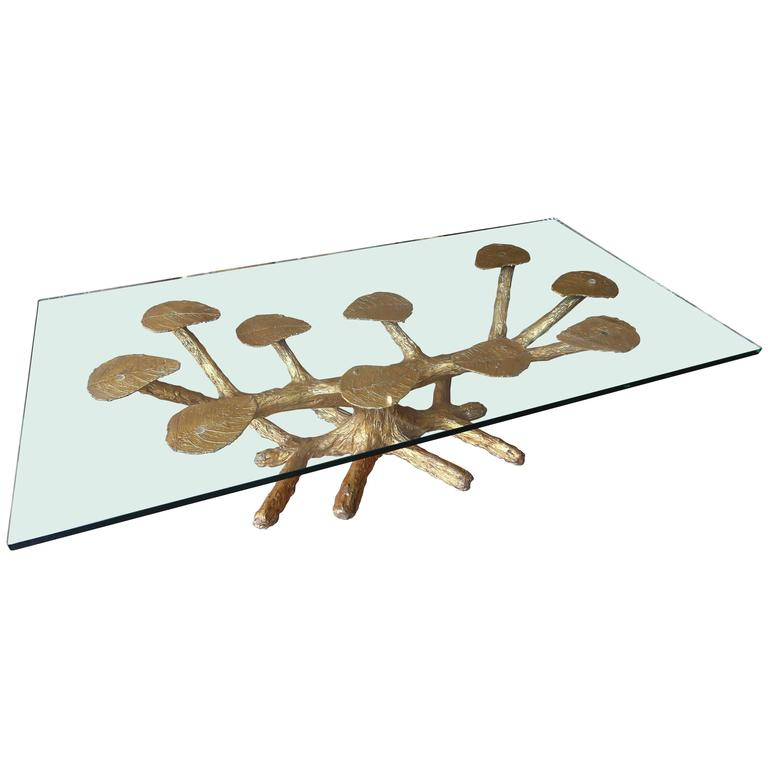 Metal faux bois 1960s coffee table with gold leaves and glass top for sale at 1stdibs Gold metal coffee table