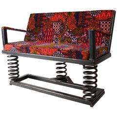 Vintage Folk Art Spring Bench