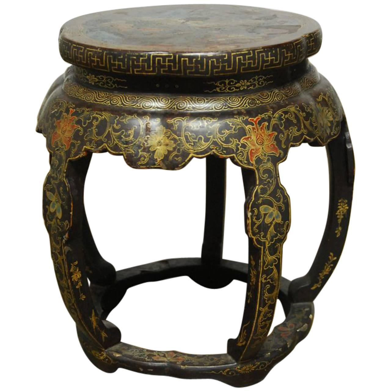 Chinese black lacquer garden stool side table at 1stdibs for Garden stool side table