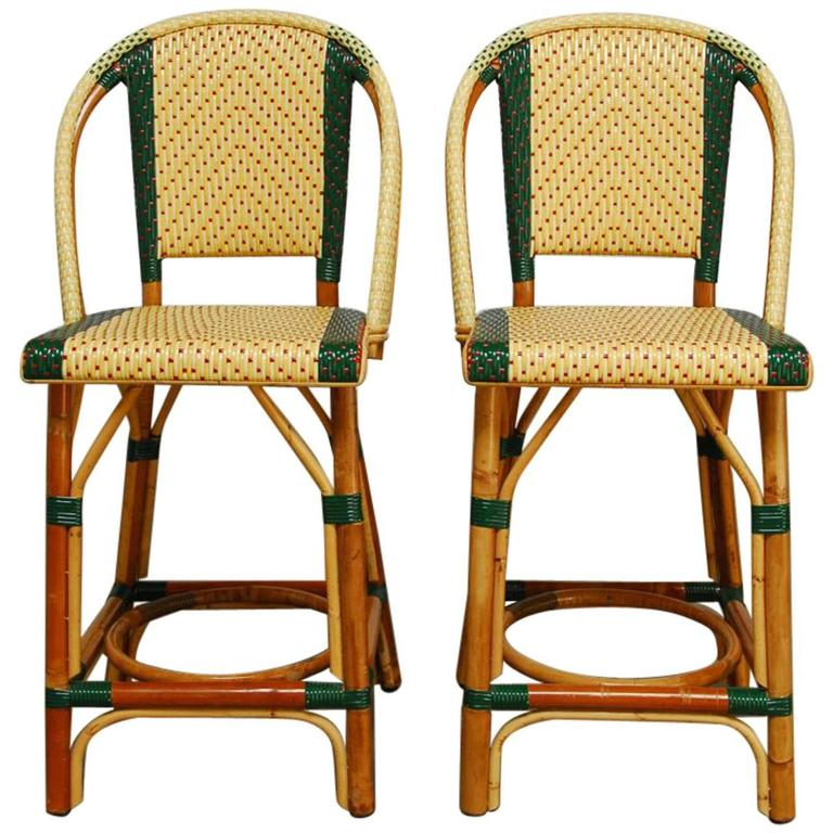 Pair Of French Rattan Maison Gatti Bistro Bar Stools For Sale