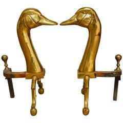 Brass Duck Goose Andirons