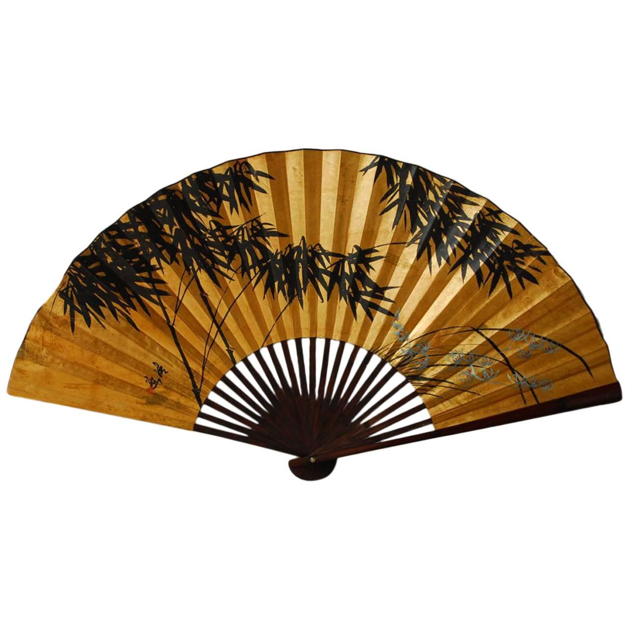 Gilt painted japanese folding wall fan at 1stdibs - Wall fans decorative ...