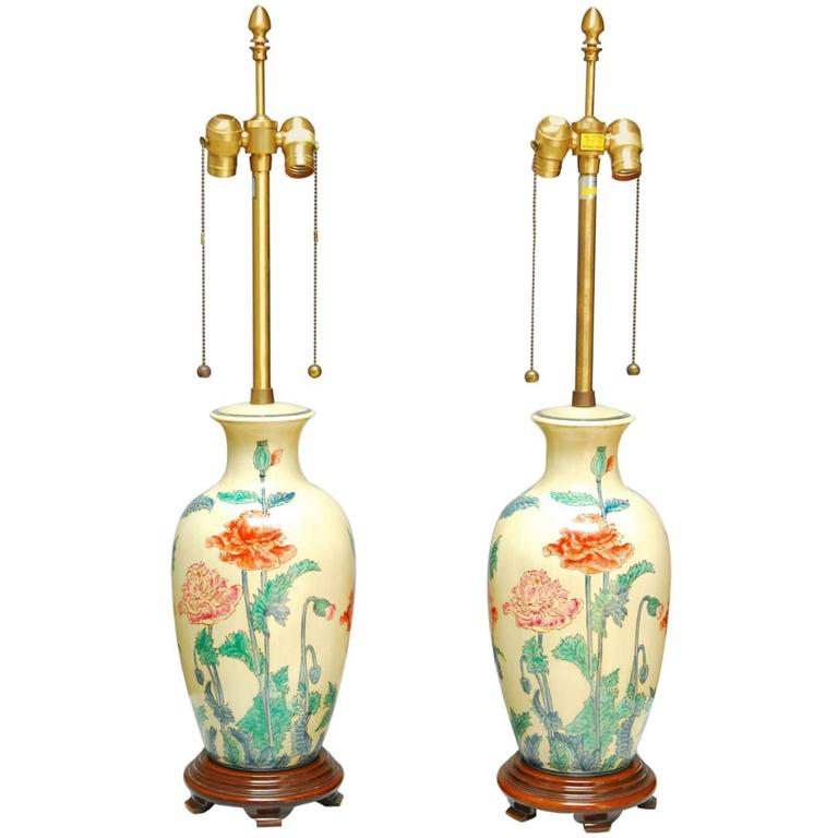 Pair of Marbro Ceramic Floral Vase Table Lamps