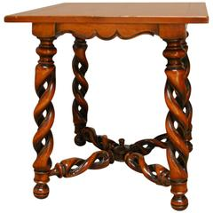 French Louis XIII Style Open Barley Twist Center Table