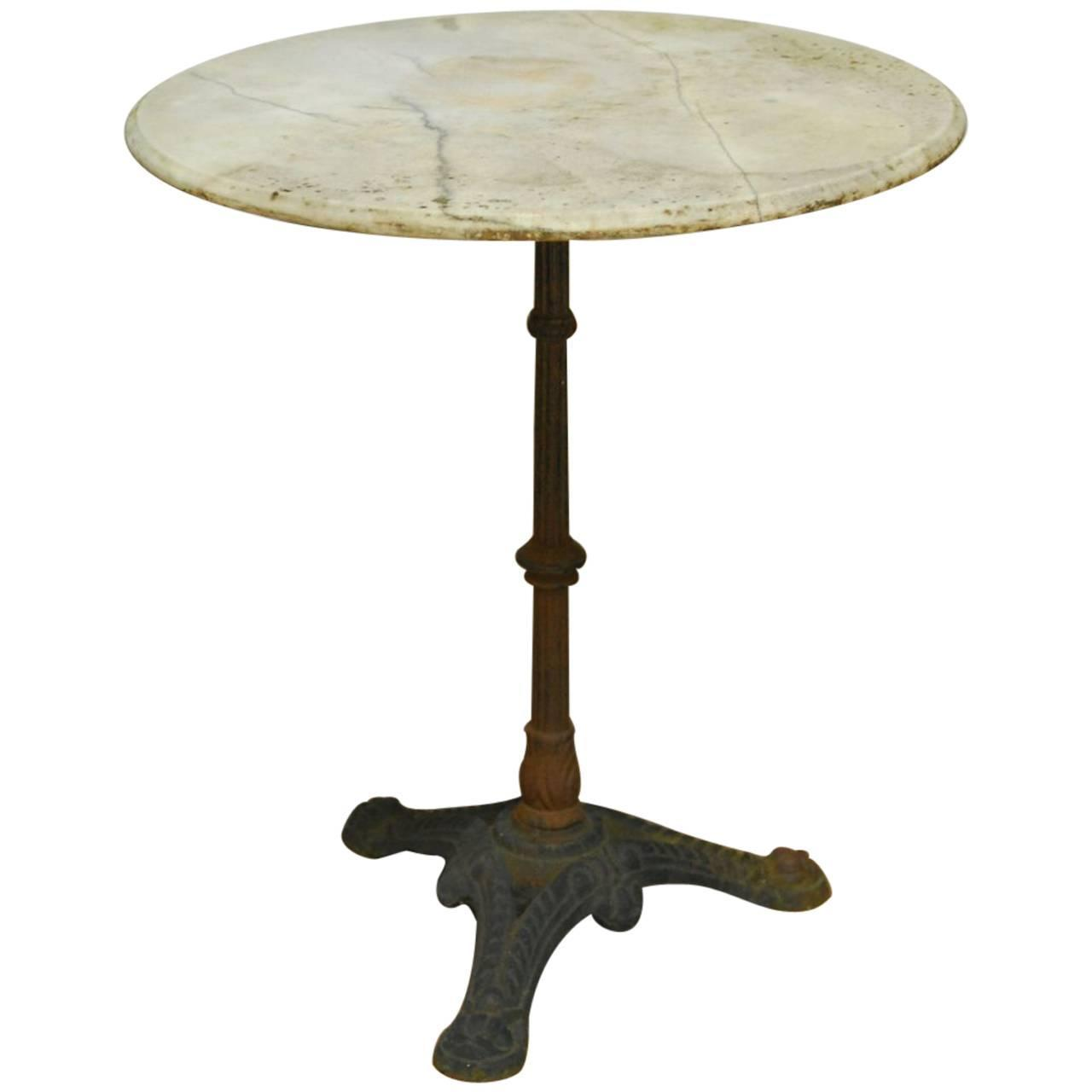 French Parisian Marble Top Bistro Table For Sale At 1stdibs