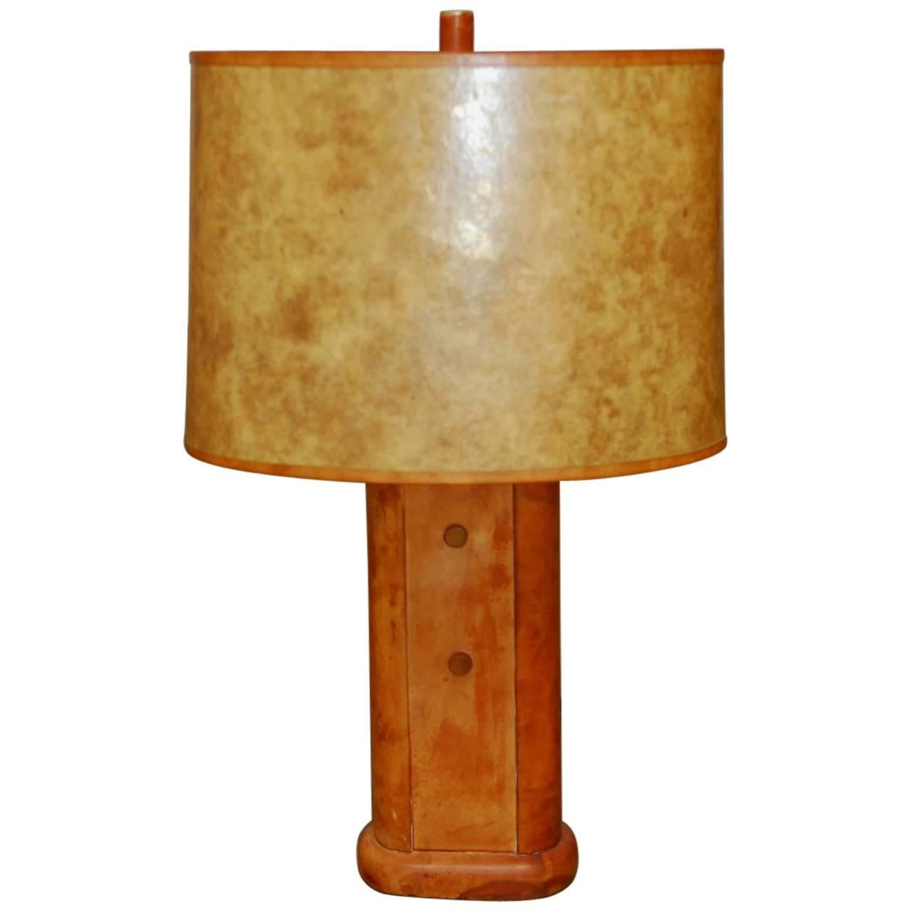 Art Deco Patinated Leather Table Lamp in the Manner of William Billy Haines