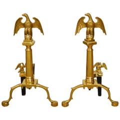 Pair of Cast Brass Federal Style Eagle Andirons