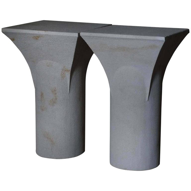 """Pair of """"Ravissant"""" Sireu Stone Side Tables by Frederic Saulou"""